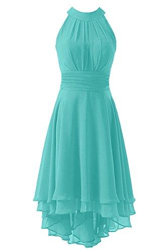 Kevins Bridal Women's High Low Short Bridesmaid Dresses Chiffon Halter Prom Dress Turquoise Size (Impression Bridal Bridal Dress)