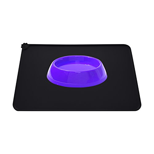 Guardians Dog Food Mat, Silicone Pet Feeding Mats, Non Slip Waterproof Cat Bowl Trays Food Container Placemat for Small Animals (18.5''x11.8'', Black) by Guardians (Image #1)