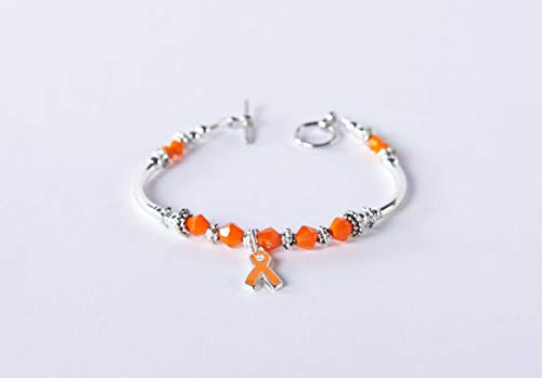 (Leukemia Cancer Orange Awareness Ribbon Charm Bracelet: Multiple Sclerosis (MS), Kidney & Spinal Cancer, Kidney Disease, RSDS. Show support. #01)