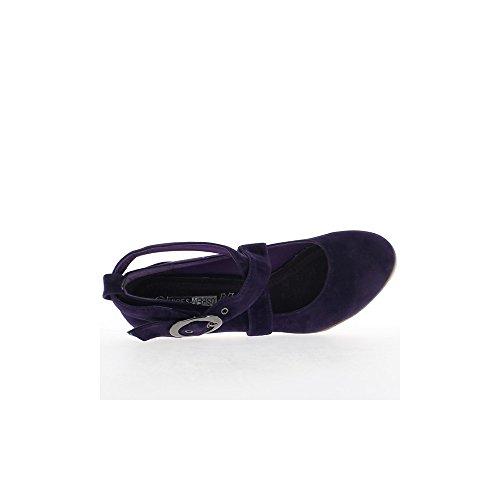 Escarpins violets aspect daim à talon de 9cm et plateau