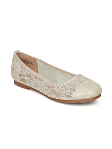 Alrisco Lace Mesh Capped Toe Ballet Flat HF24 - Ivy Mix Media (Size: Big Kid 4) by Alrisco (Image #5)