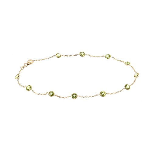 14k Yellow Gold Handmade Station Anklet With Peridot Gemstones 9 - 11 Inches by amazinite