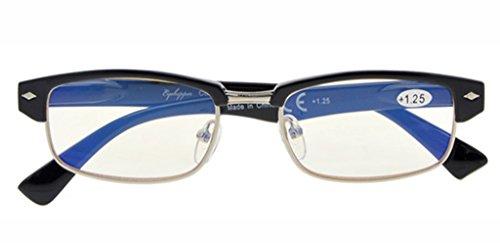 Visionkr UV Protection,Anti Blue Rays,Reduce Eyestrain,Half-Rim Computer Reading Glasses(Black,Amber Tinted Lenses) Without Strength ()
