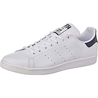 adidas Originals Men's Stan Smith Leather Sneaker, Core White/Core White/Dark Blue, 10