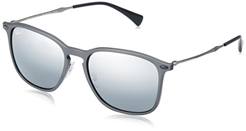 (Ray-Ban RB8353 Square Sunglasses, Grey /Polarized Silver Mirror Gradient, 56 mm)