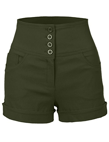 RubyK Womens Stretchy High waisted Button Sailor Nautical Shorts,Rbkwb1173_olive,X-Large