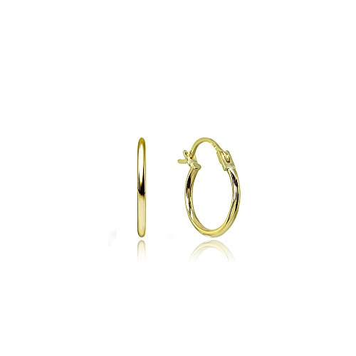 14K Gold High Polished Tiny 12mm Round Hoop Earrings
