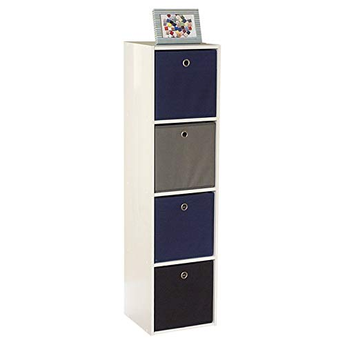 MIK Wood Cube Bookcase with 4 Drawers - Bookcase with 4 Fabric Bins - Blue/Black/Gray