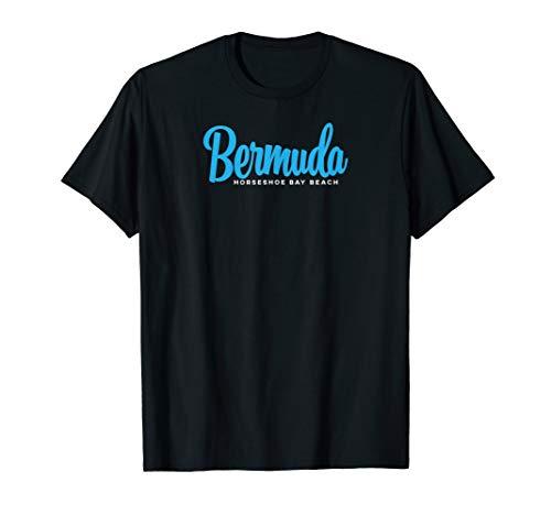 Bermuda Horseshoe Bay Beach with Blue Text T-Shirt