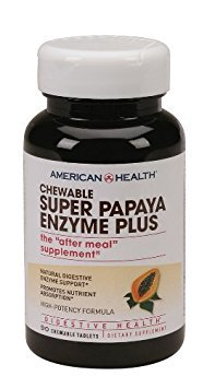 Chewable Super Papaya Enzyme Plus The After Meal Supplement (90 Chewable Tablets) American Health 90 Tablets