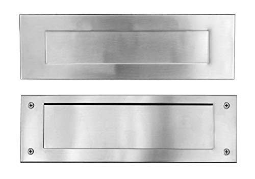 (Stainless Steel Door Mail Slot (front & rear pieces), Letter Box Plate Compatible With Any Door Type, 13 in. W x 4 in. H )