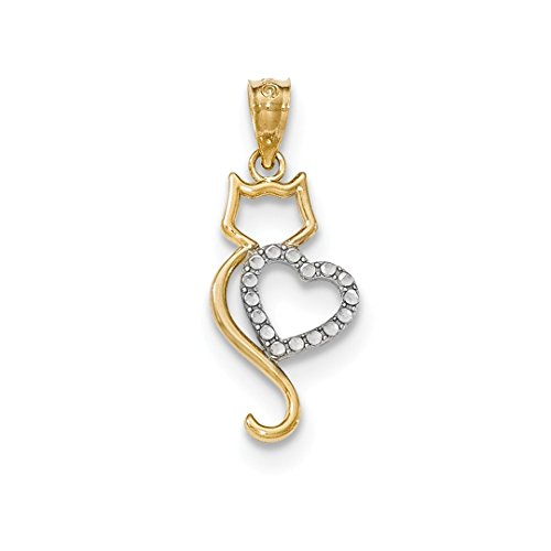 14k Two Tone Yellow Gold Cat Heart Pendant Charm Necklace Fine Jewelry For Women Gift Set