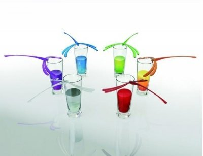Lib Dragonfly Set of Six Multicolor Cocktail Stirrers