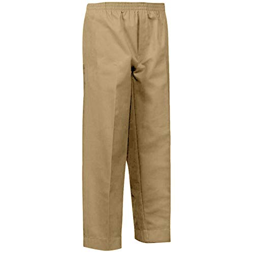 (Benefit Wear Mens Full Elastic Waist Pull-On Pants with Mock Fly (M, Khaki))