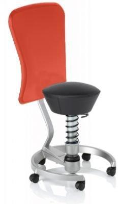 Aeris Swopper Classic - Bezug: Leder / Schwarz | Polsterung: Standard | Fußring: Titan | Universalrollen für alle Böden | mit Lehne und rotem Microfaser-Lehnenbezug | Körpergewicht: MEDIUM