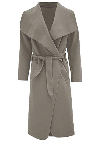 Fashions Francese Womens Italiano Lunga Donna Charcoal Coat Waterfall Duster Islander Trench Cintura 2xl Con S Giacca d45wq8dx