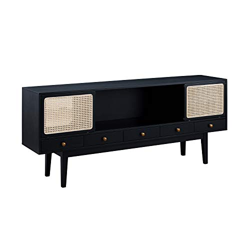 Holly & Martin Simms Midcentury Modern Media Console (Black with Natural, Antique Bronze)