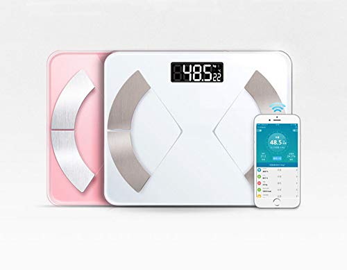 Smart Body Fat Scale Wireless Bathroom Scale Digital Body Composition Analyzer with iOS and Android APP for Body Weight, Fat, Water, BMI, BMR, Muscle Mass (Pink, Charging Type)