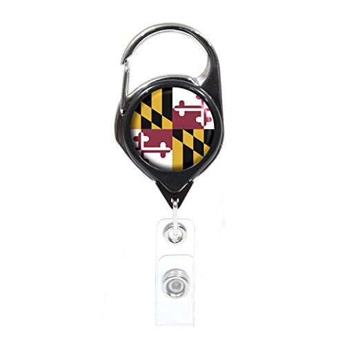 Officially Needed-Maryland State ID Badge Holder Retractable, Black Carabiner Badge Clip | Great for Holding Name Tags, Light Tools Like Nail Clippers | Gifts for Teachers, Nurses, Professionals]()
