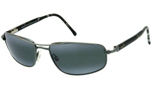 Maui Jim  Sunglasses | Kahuna 162-02 | Gunmetal Rectangular Frame, Polarized Neutral Grey Lenses, with Patented PolarizedPlus2 Lens Technology by Maui Jim