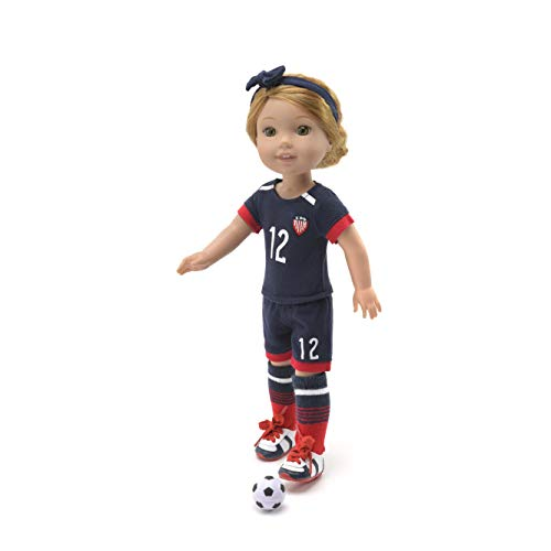 14 Inch Doll Clothes - Team USA Soccer 6 Piece Uniform,Includes Shirt,Shorts,Socks,Headwear,Football,Shoes,Fits American Girl Wellie Wishers Dolls