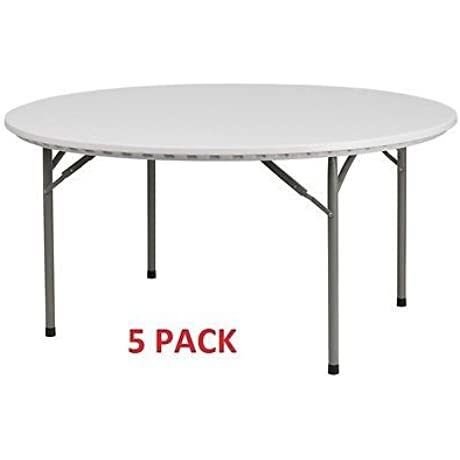 5 PACK Commercial Quality 60 Round Plastic Folding Banquet Tables