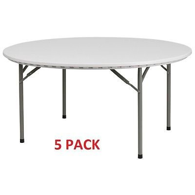(5 PACK) Commercial Quality 60'' Round Plastic Folding Banquet Tables by YCZ