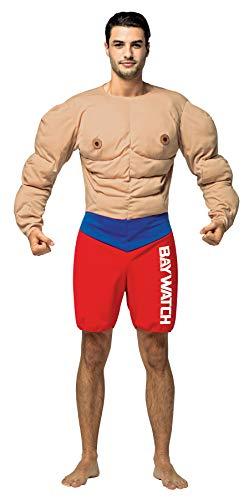 Men's Baywatch Muscle Lifeguard Bodysuit Movie Theme Halloween Costume, OS -