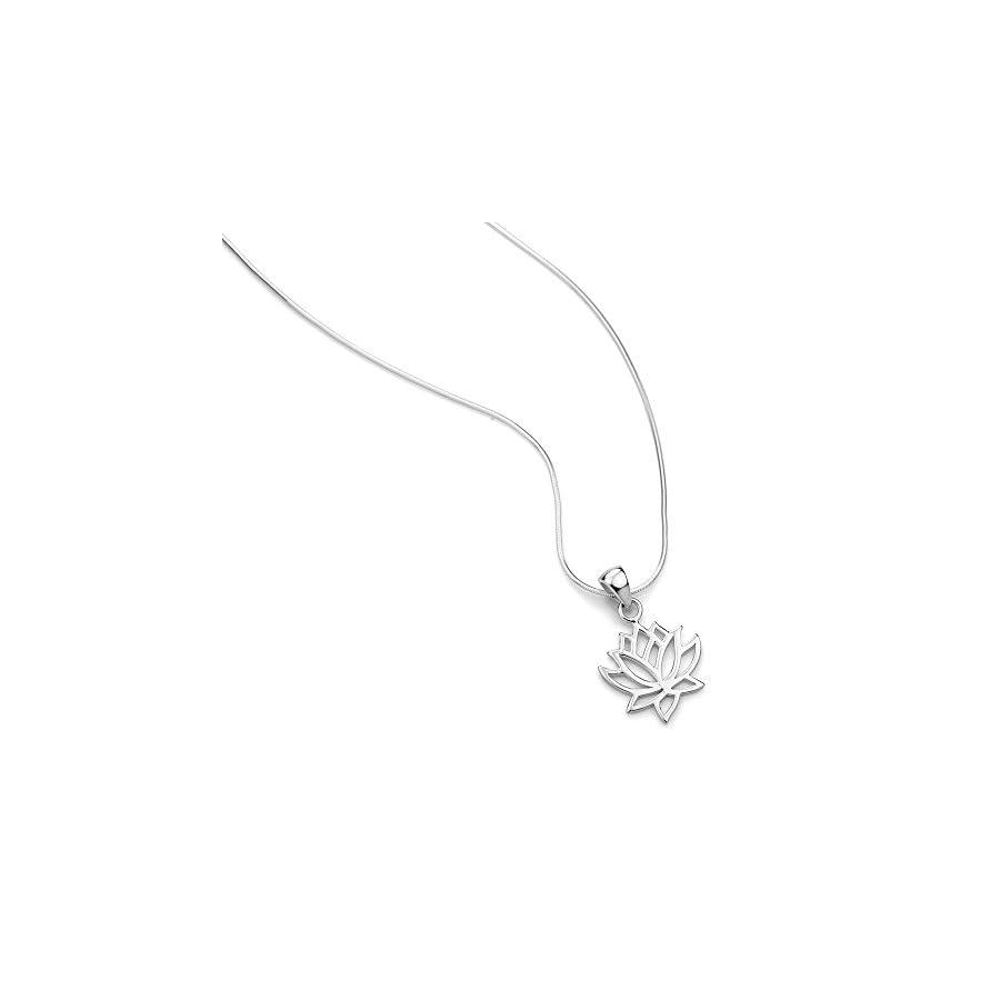 925 Sterling Silver Open Woman Lotus Flower Pendant Necklace Italian