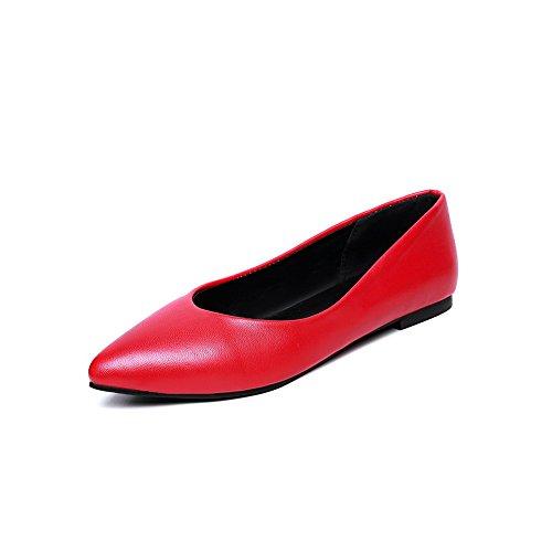Balamasa Ladies Tomaia A Taglio Basso Winkle Pinker Scarpe Da Ginnastica In Pelle Con Cinturino Rosso Imitato
