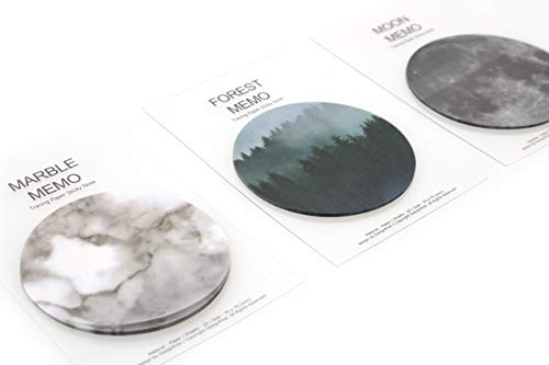 ((Set of 3) Creative Tracing Paper Sticky Memo Cute Note Pads Mysterious Moon, Forest, Marble Set Items Unique Styles Self Adhesive Removable Transparent Memo Various Size)