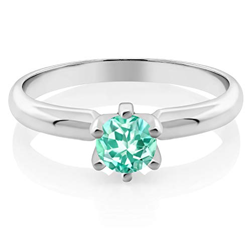 Gem Stone King 0.50 Ct Round Blue Apatite 925 Sterling Silver Ring (Size 8) ()