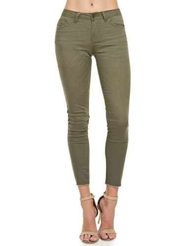 (Monkey Ride Jeans Women's Modern Slim Fit Jeans Skinny Stretchy Frayed Hem Ankle Pants 1, Olive)