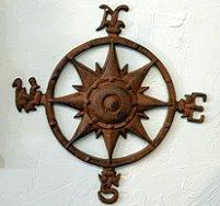 Iron Compass Rose Nautical Wall Plaque