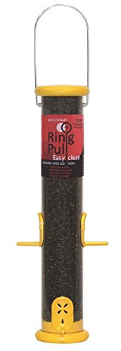 Yankees Pull Droll Ring (Droll Yankees Bird Feeder, Ring Pull Finch Feeder, 23-inch, 6 Port, Yellow, RPF23Y)