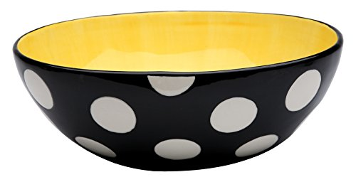 StealStreet SS-CG-62679, 10 Inch Black and White Polka Dot Yellow Egg Shaped Large Bowl