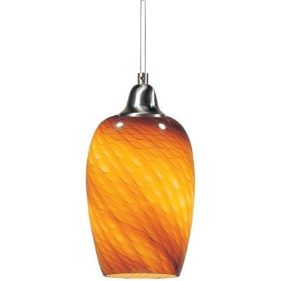 ET2 E20202-14 Hue 1-Light Pendant Mini Pendant, Satin Nickel Finish, Amber Ripple Glass, MB Incandescent Incandescent Bulb, 18W Max., Dry Safety Rated, 3300K Color Temp., Glass Shade Material, 1404 Rated Lumens