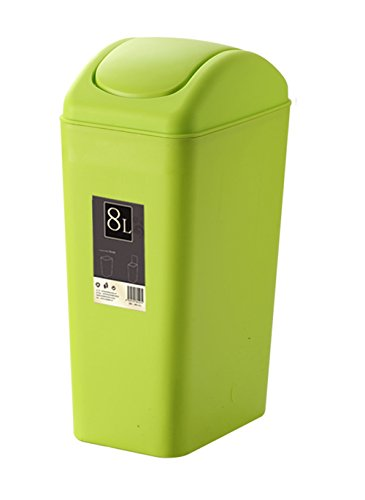 Plastic Trash Can Swing Lid Kitchen/Bathroom/Bedroom/Parlor/Office Trash Can - 8 L / 2.1 Gal (Green Trash Can)