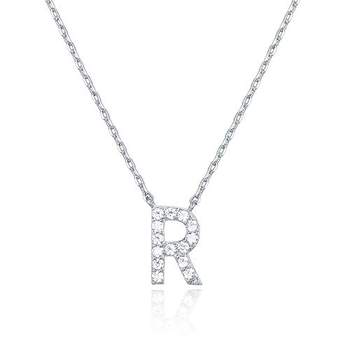 PAVOI 14K White Gold Plated Cubic Zirconia Initial Necklace   Letter Necklaces for Women   R Initial (Letter Bubble R In)