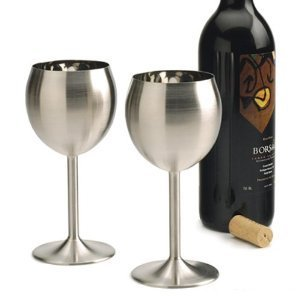 RSVP Endurance Stainless Steel Wine Glass, Set of 2 (Wine Glasses Stainless Steel compare prices)