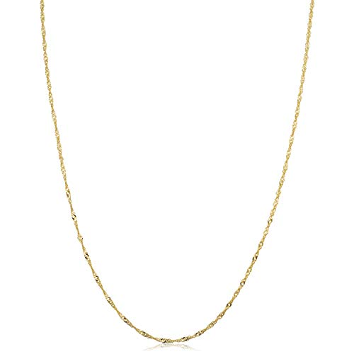 14k Yellow Gold Singapore Chain Necklace (1mm, 18 inch)