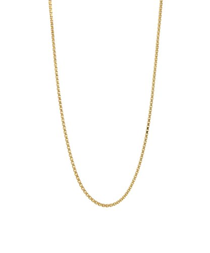 925 Sterling Silver Yellow Gold Plated 1.5MM Box Chain Italian Necklace- Lobster - Inch Gold Plated 24