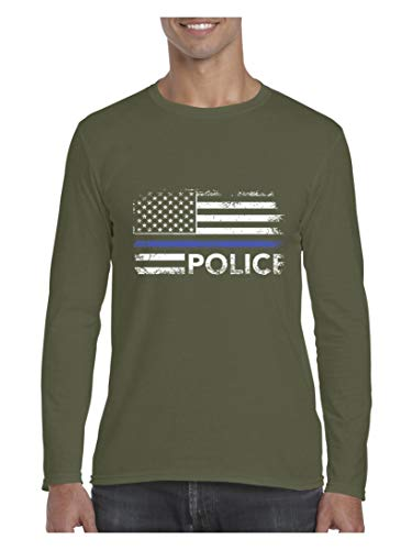Mom`s Favorite Police American Flag Men's Softsyle Long Sleeve T-Shirt (XLMG) Military Green