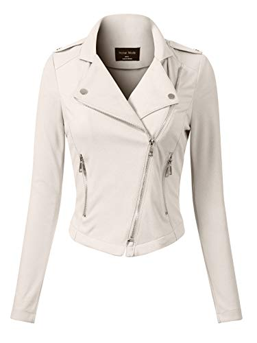 Design by Olivia Women's Slim Fit Long Sleeve Zip-up Moto Jacket Off-White M