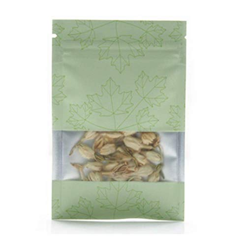 Smell Proof Odorless Mylar Resealable Foil Pouch Bags With Frosted Window | Food Safe | Airtight Ziplock | Matte Colorful | 100 Pieces (Green, Matte 10x15cm (3.9x5.9