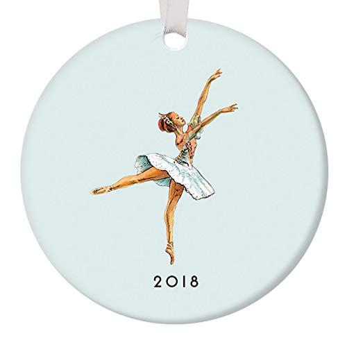 "Ballerina Ornament Christmas 2018 Nutcracker Dance Pretty Pastel Blue Sugarplum Fairy Ballet Dancer Ceramic Dancing Keepsake Holiday Gift Idea 3"" Flat Porcelain w White Ribbon & Free Gift Box OR00033"