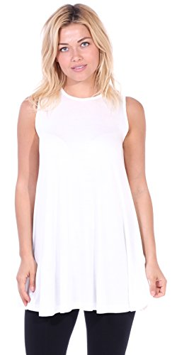 Popana Women's Casual Sleeveless Summer Floral Tunic Tank Tops S-3X Made in USA ()