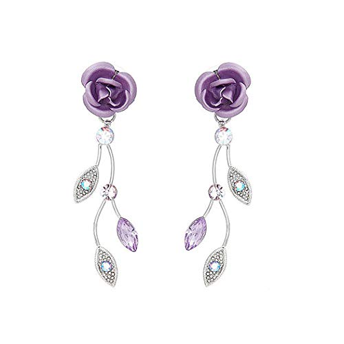 Glamorousky Violet Rose Earrings with Violet Austrian Crystals and Crystal Glass (767)