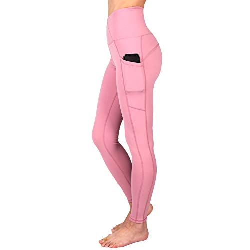 SUPSOO Sports Tights for Women,High Waist Yoga Pants Power Stretch Leggings for Yoga, Running and Kinds of Fitness(Pink) (M) ()