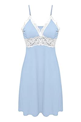 Ekouaer Sleepwear Womens Chemise Nightgown Full Slip Lace Lounge Dress
